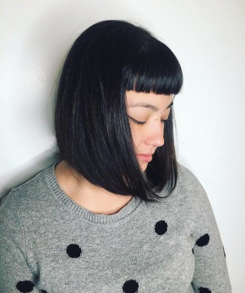short bob haircut micro bangs
