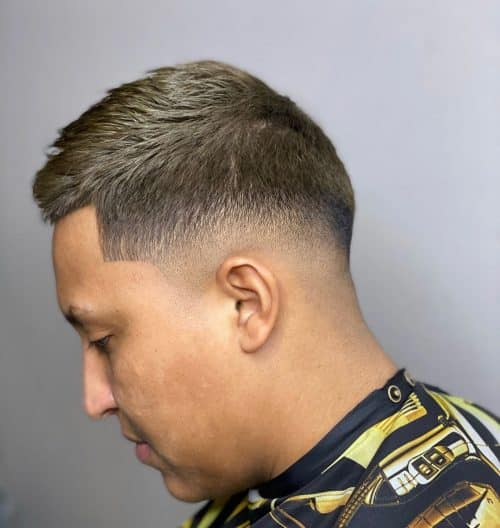 short crew cut with low bald fade