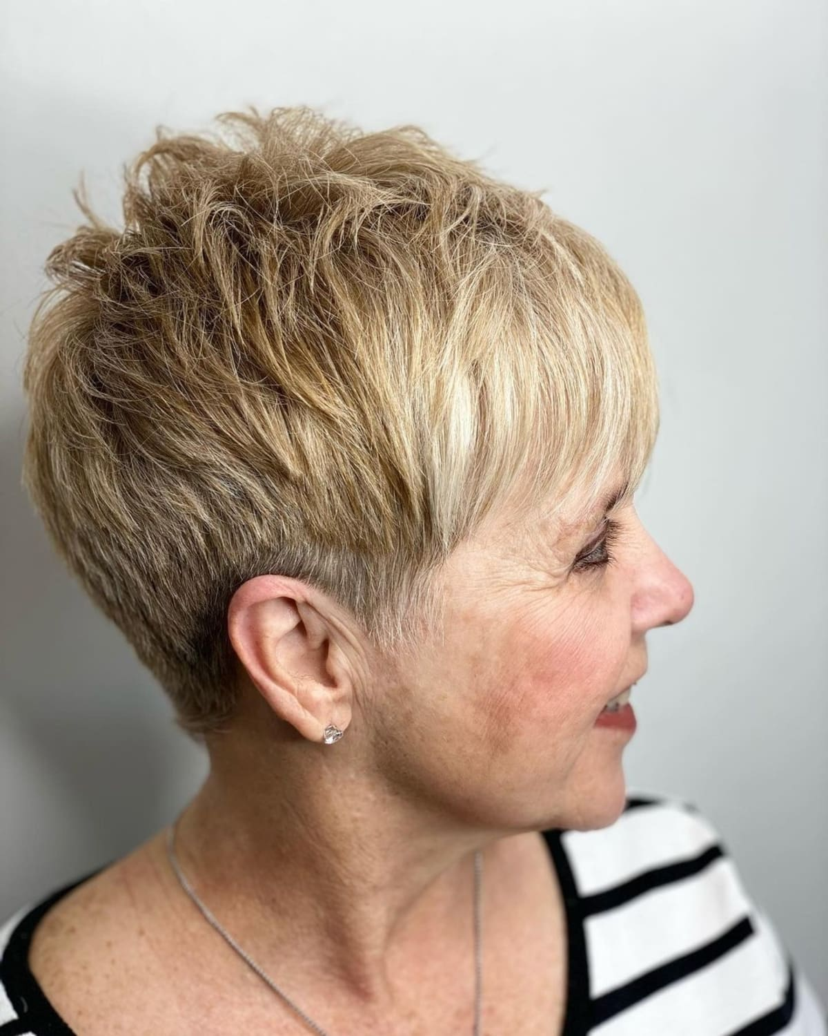 short crop with thin bangs for older women