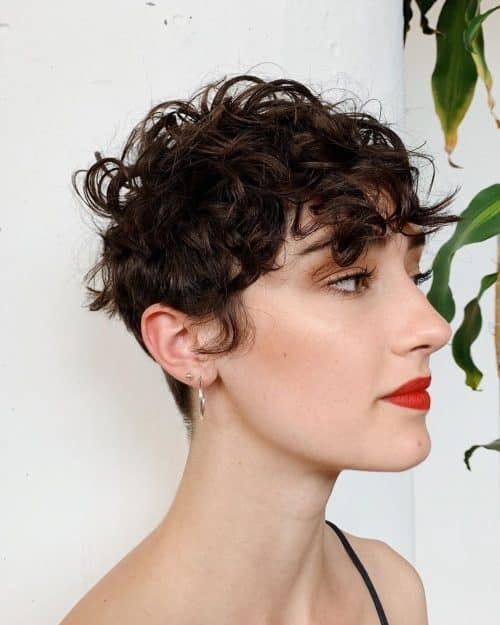 short curly hair with thick bangs