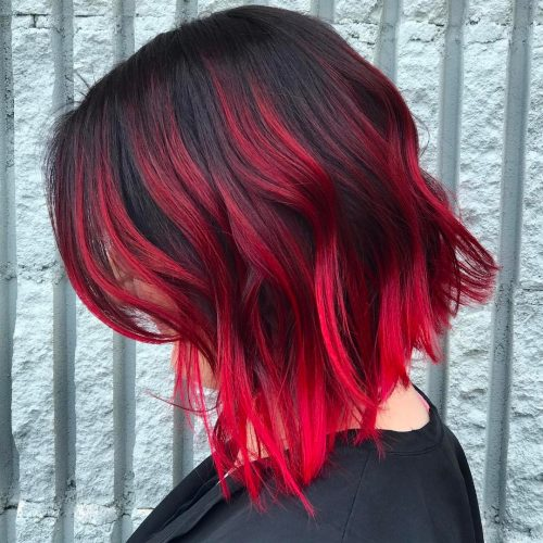 Picture of a short dark red hair
