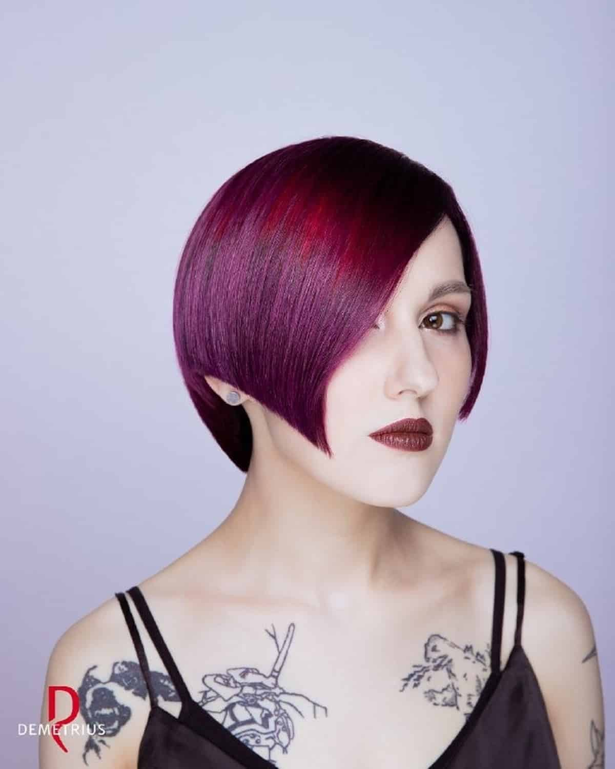 Short gothic asymmetrical cuts are extremely unique. Sharp lines and soft transitions create the perfect shape. Try adding in a dark fashion color to enhance the gothic appearance.