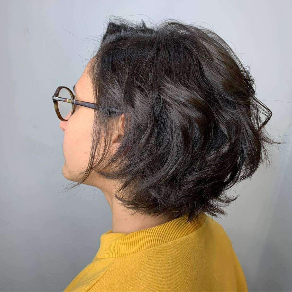 cuadrado graduado ondulado corto para mujer