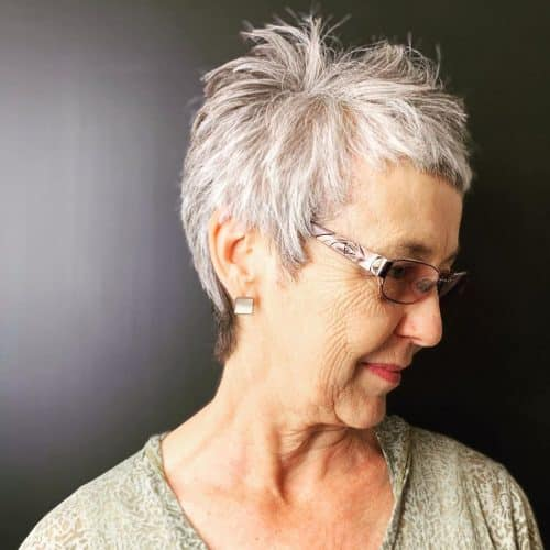 Short Grey Pixie Cut for women over 50 with glasses and fun frames