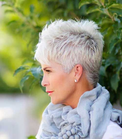 A Short Spikey Pixie Cut For Older Woman