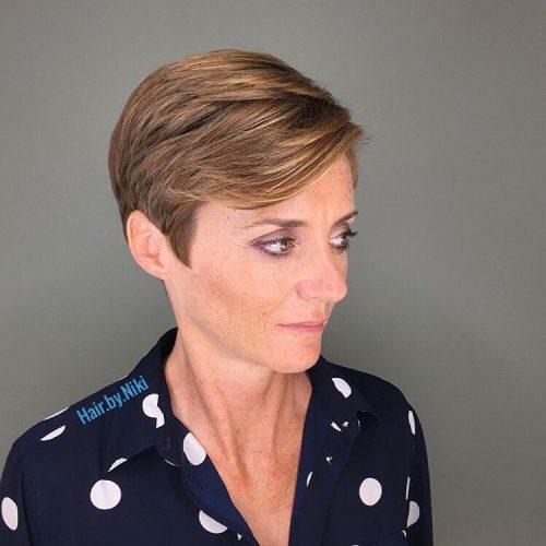 Short brunette hair with golden brown highlights