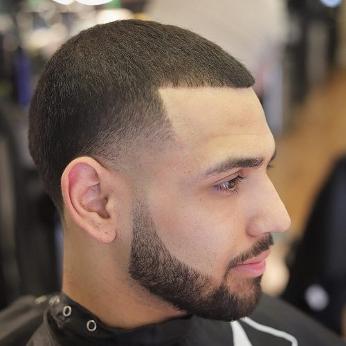 Short hair with taper fade and beard