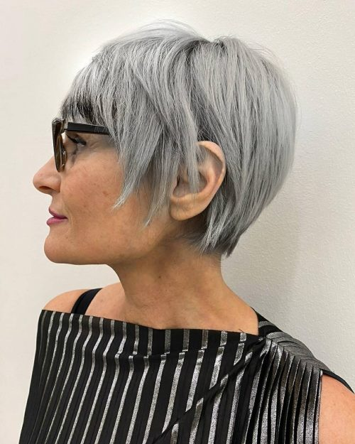 short hairstyle white hair over 50 with glasses