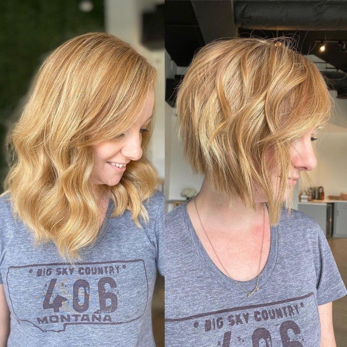 Corte de pelo de capas cortas para cabello fino.