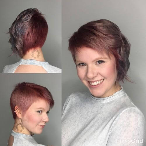 Wavy asymmetrical bob with pastel red