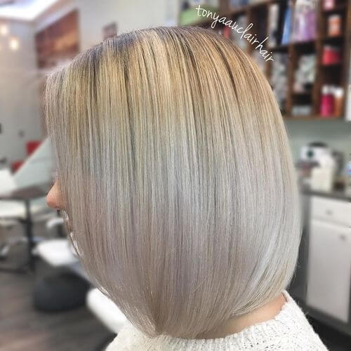A dark blonde platinum a-line bob
