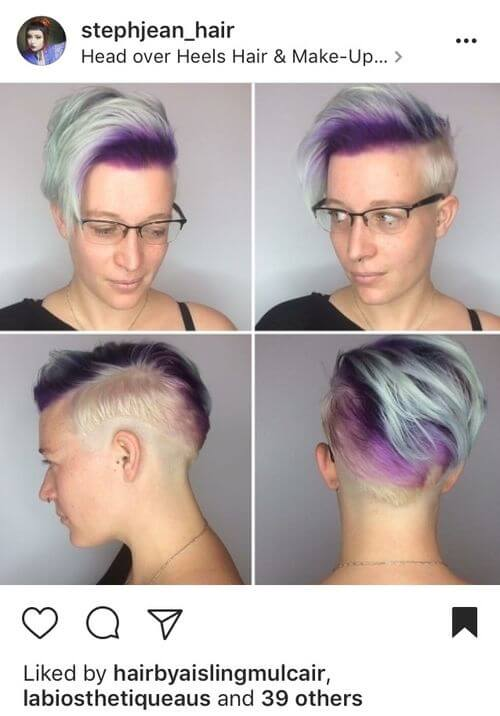 short rainbow hair with side bangs