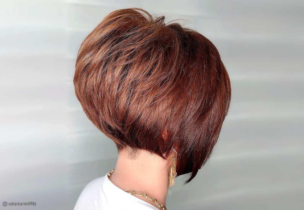 Short stacked inverted bob haircut