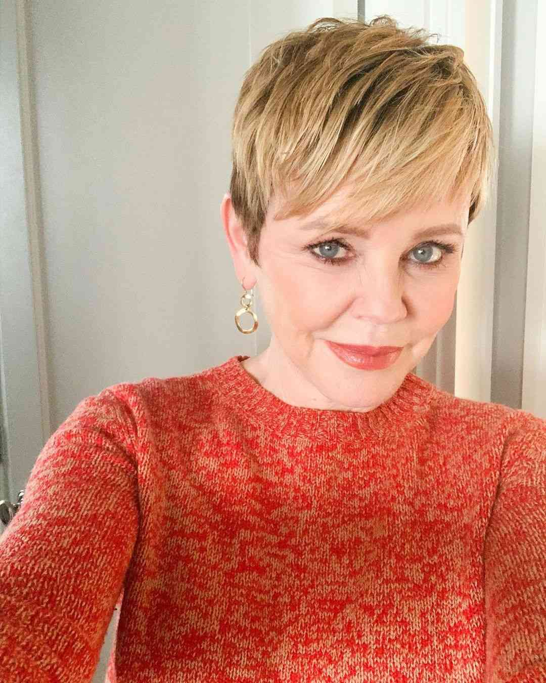 Short textured pixie cut for women over 60