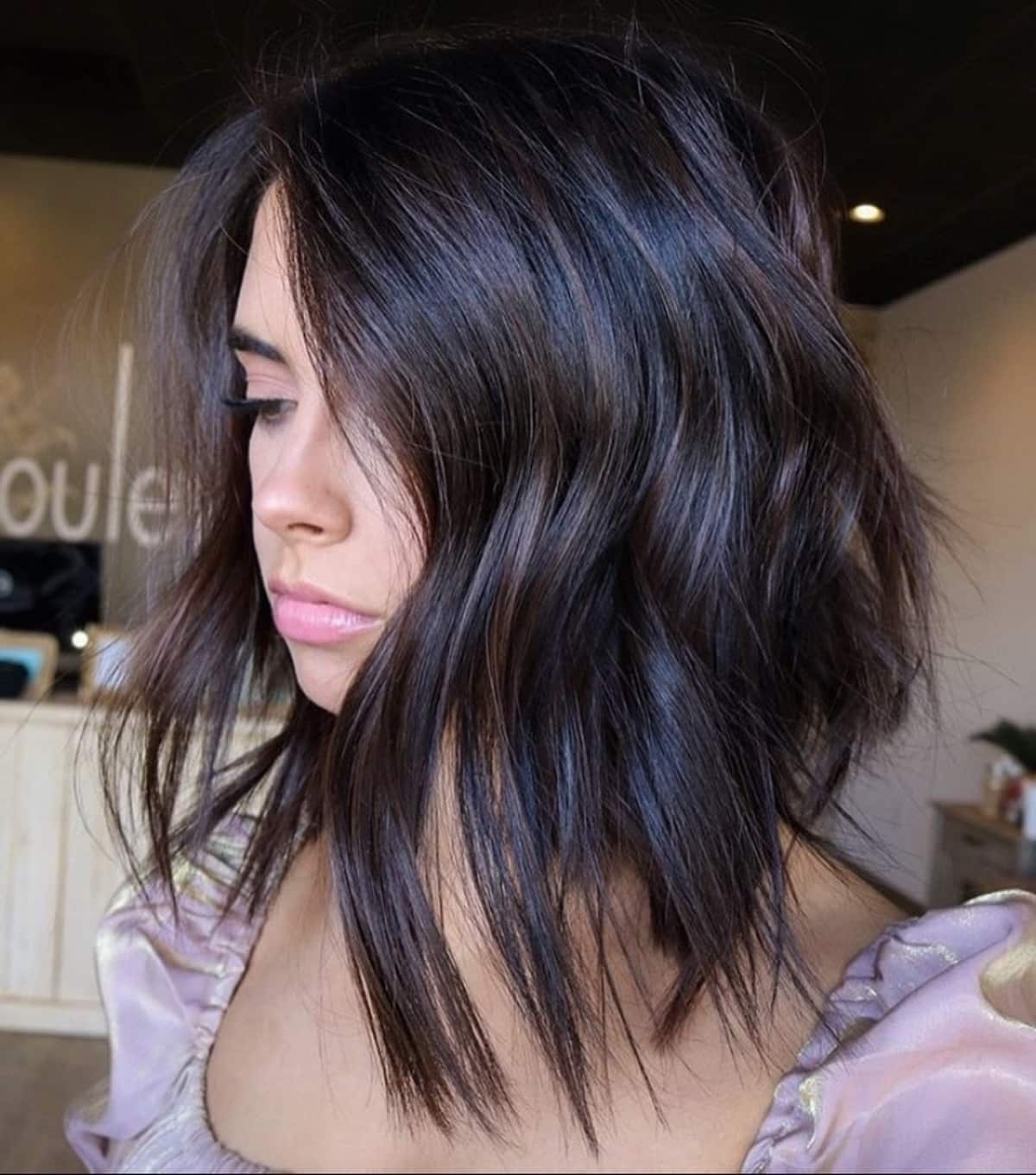 Short to medium choppy layers hairstyle