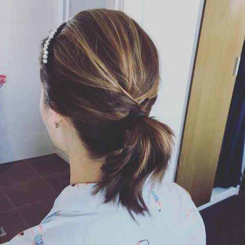 Ponytail for shoulder length hair