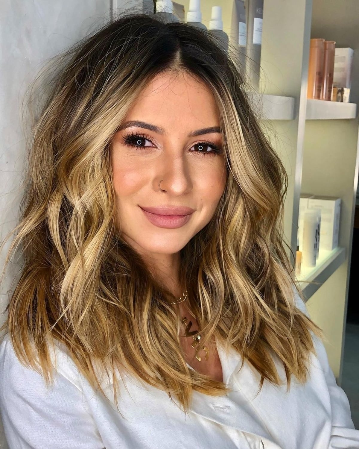 Shoulder Length Lob for thick hair