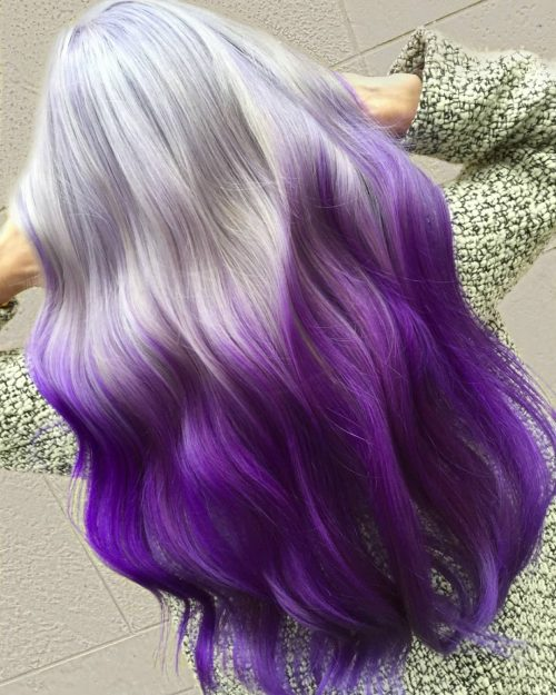 Silver purple ombre hair color