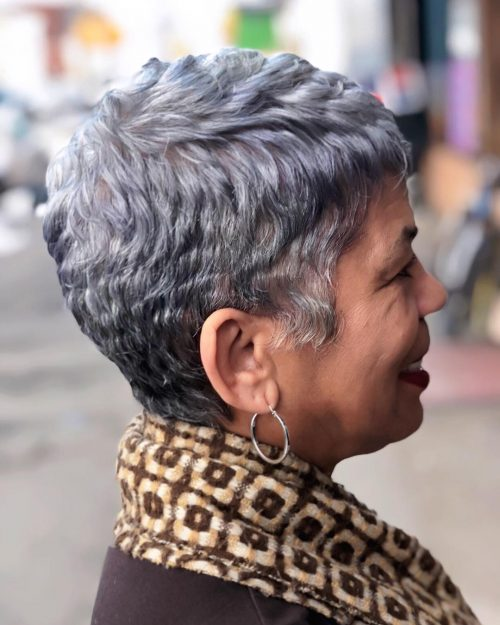 Picture of a silver black pixie haircut