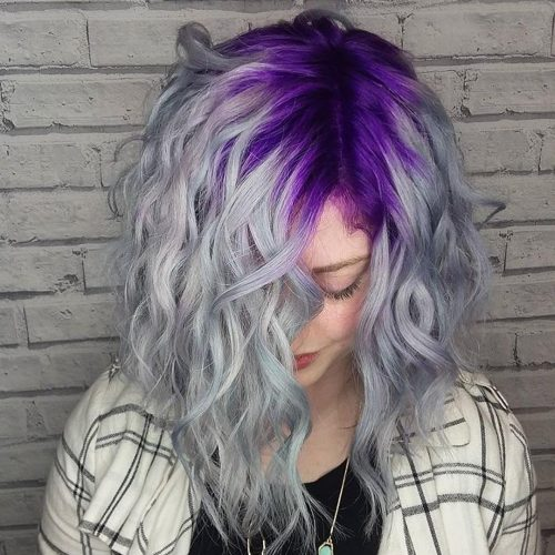 curled hair with silver color