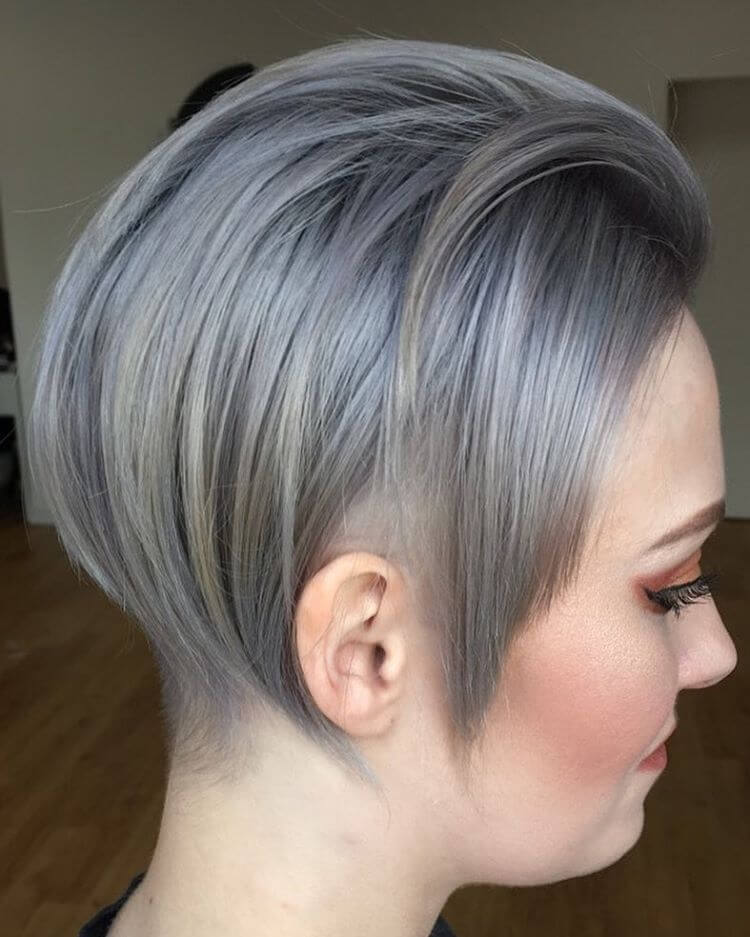 Picture of blue to silver hair undercut