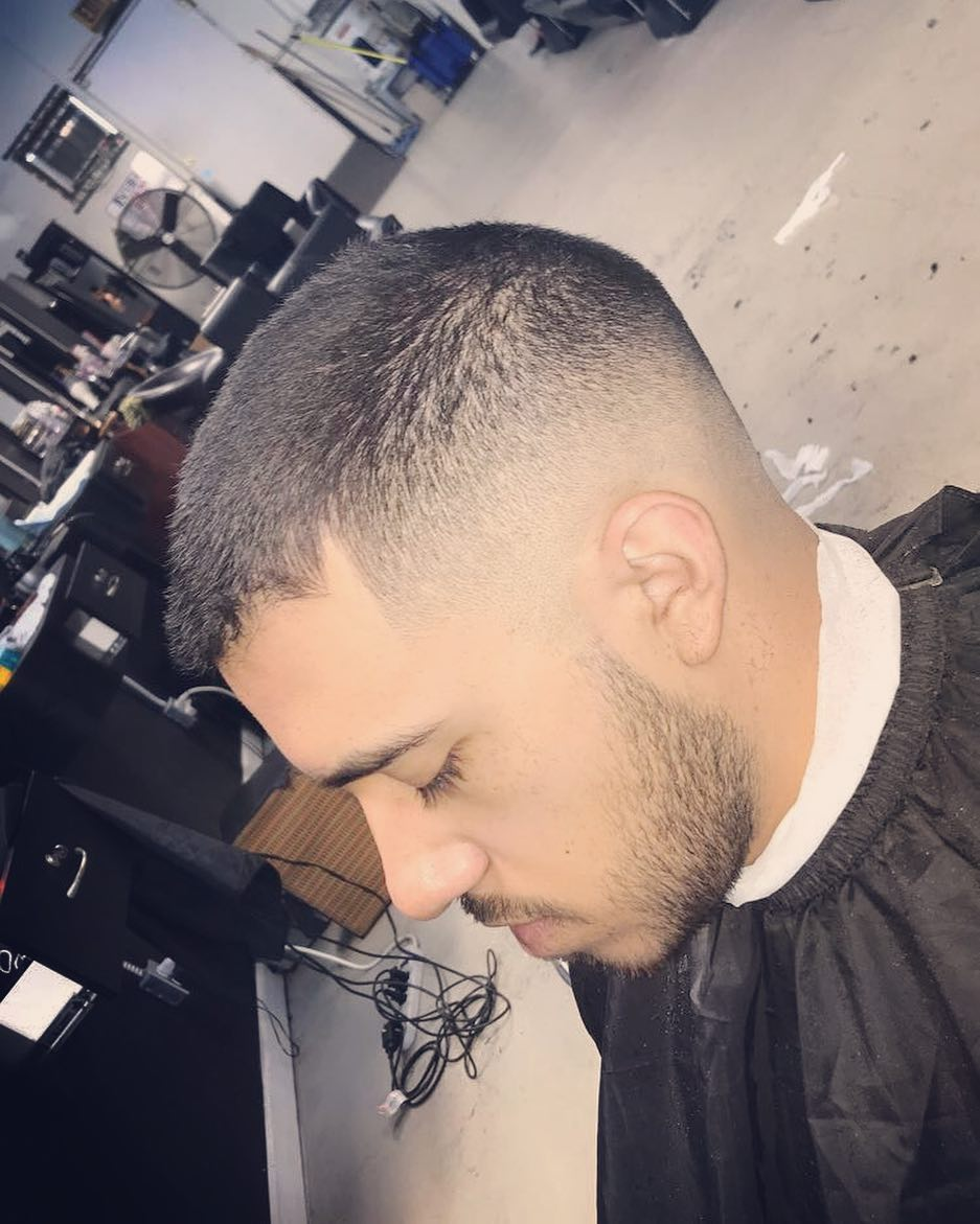 A short crew cut fade for men with thin hair