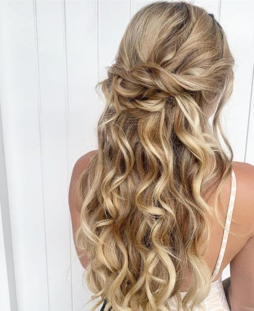hair half up half down styles 23 gorgeous formal half updos you ll fall in with 8143 | simple half up half Down 500x613