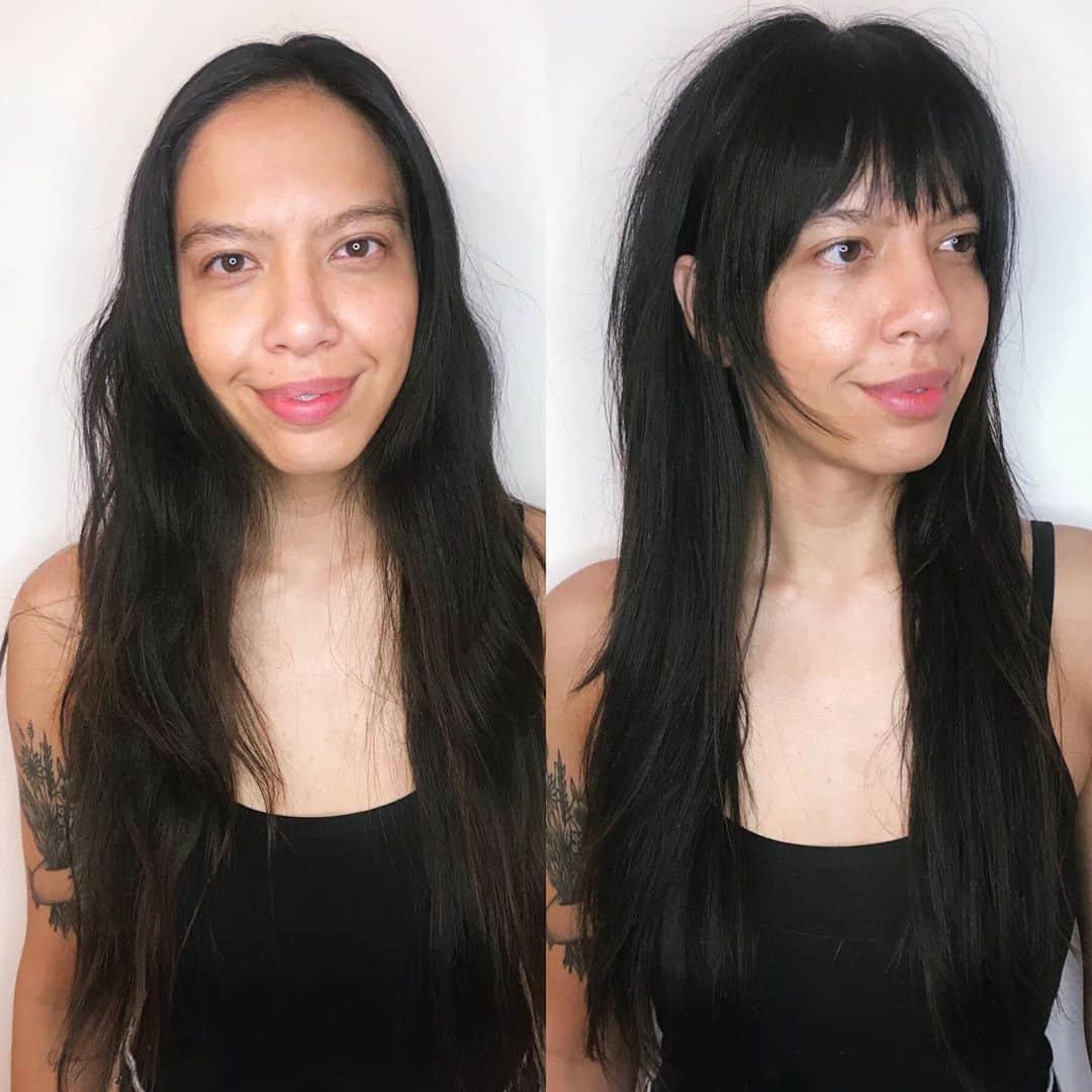 pelusa moderna de los 60 con flequillo para cabello fino