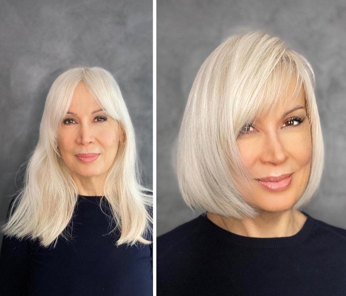 Bob elegante para mujeres de 60 años con cabello lacio