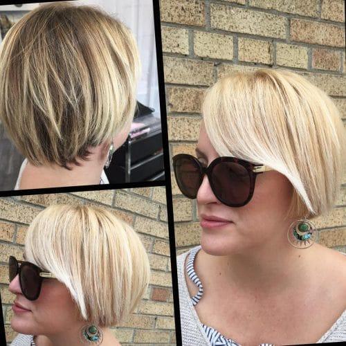 Sleek short blunt bob haircut