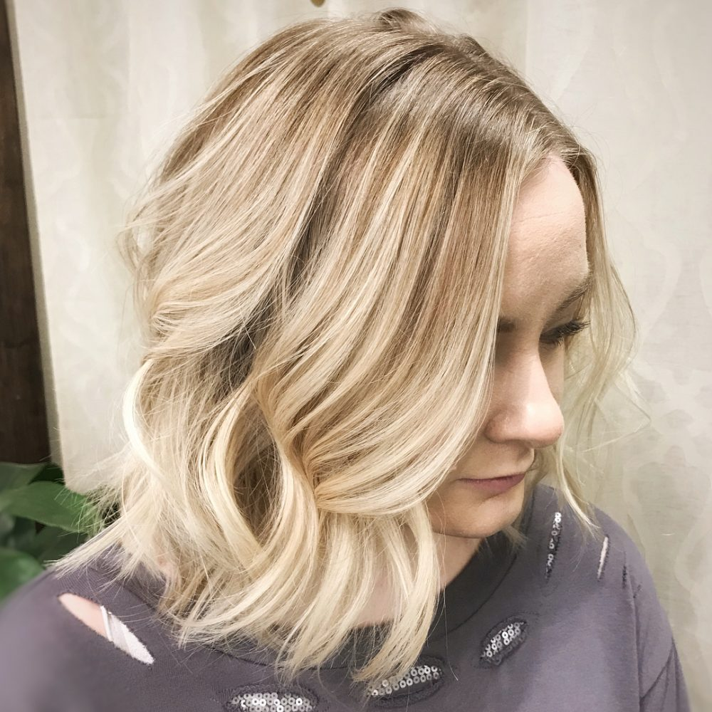 Slightly A-Lined Lob hairstyle