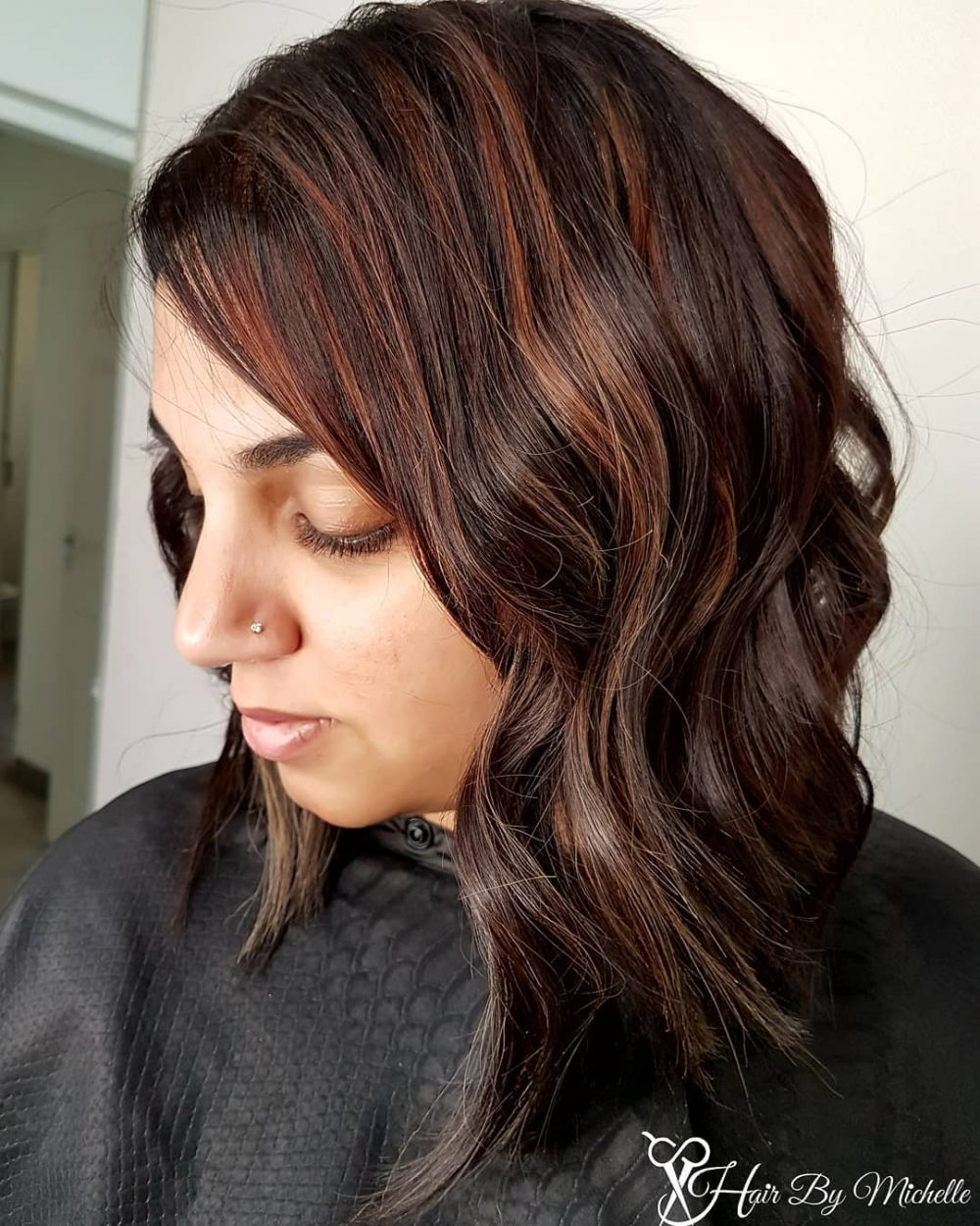 Slightly Asymmetrical Lob hairstyle