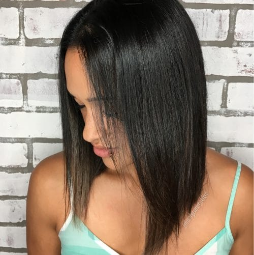 Slightly Angled Lob hairstyle