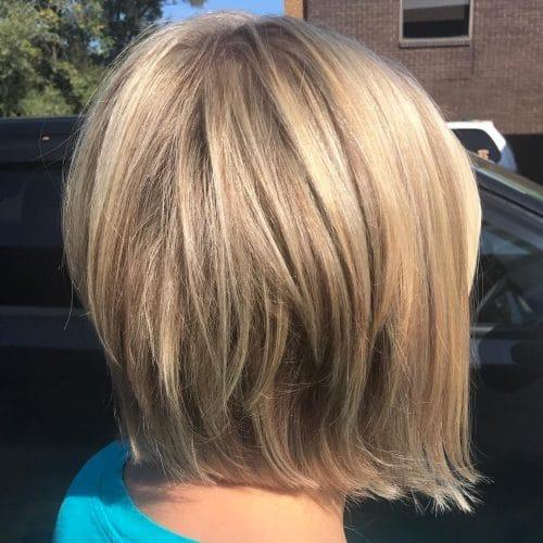 A short layered inverted bob haircut