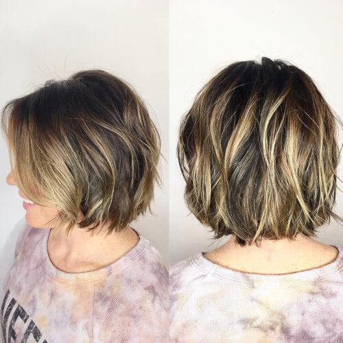 soft butterscotch balayage bob hair color