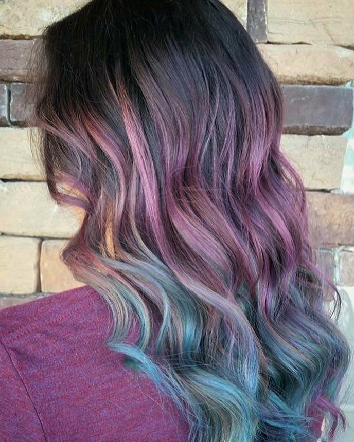 Soft Lavender and Aqua Tones hairstyle