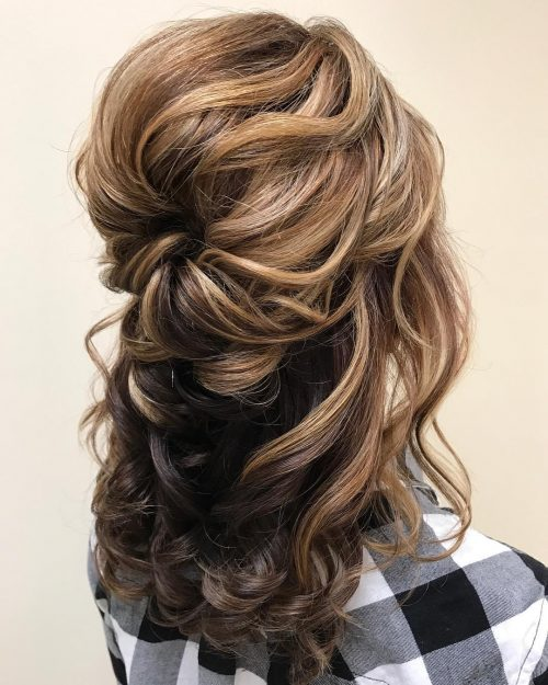 A long half updo with highlights