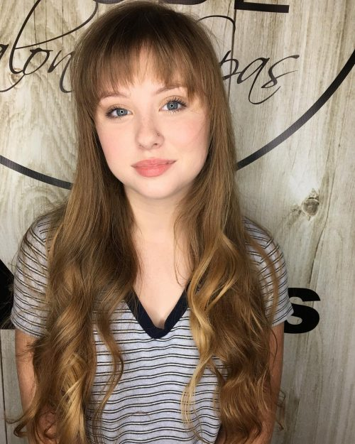 Long Light Brown Curls with Soft Bangs