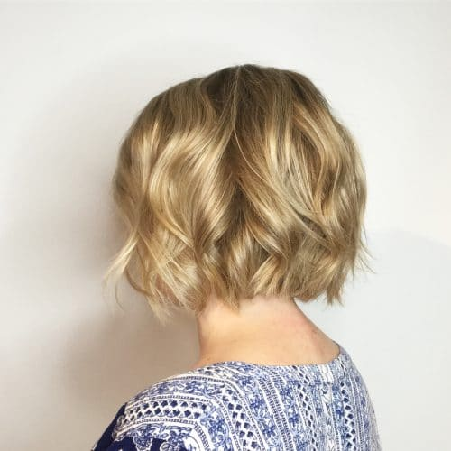 Soft Golden Wavy Bob