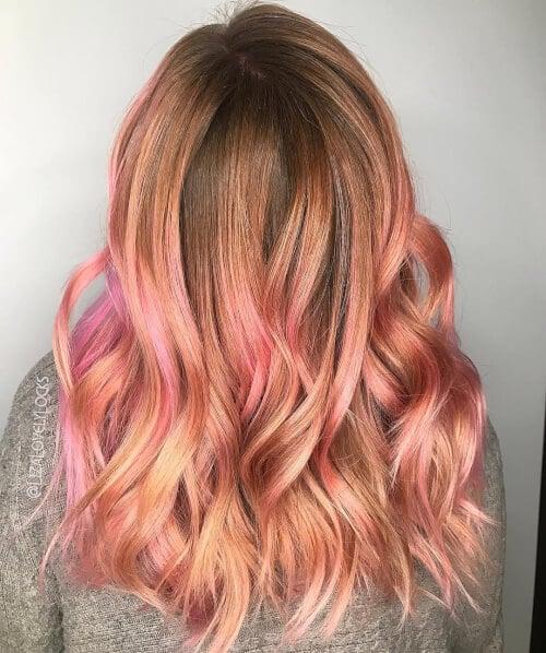 splash pink rose gold hair color