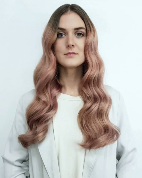 Picture of a splendid rose gold hair to show off blue eyes