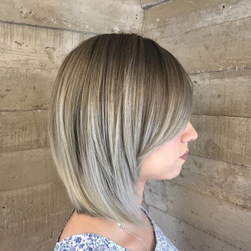 Picture of a splendid silver balayage bob