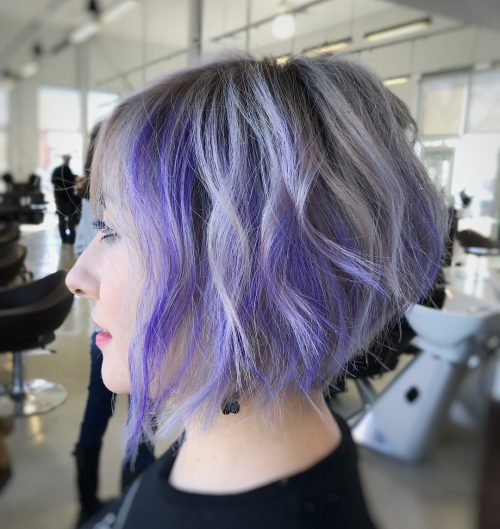 Picture of a stacked and angled edgy bob a short hairstyle for round face