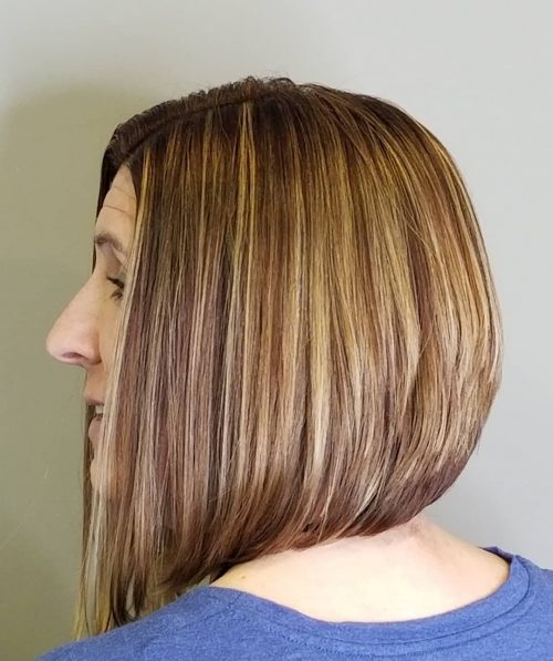 A shoulder length stacked bob haircut