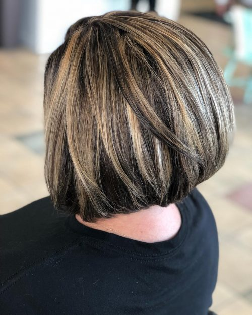 Stacked Bob with Light Blonde Highlights