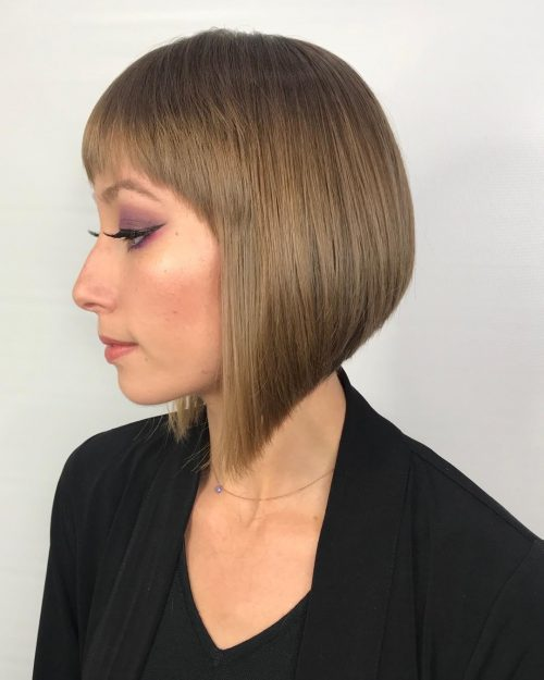 Stacked bob with short bangs