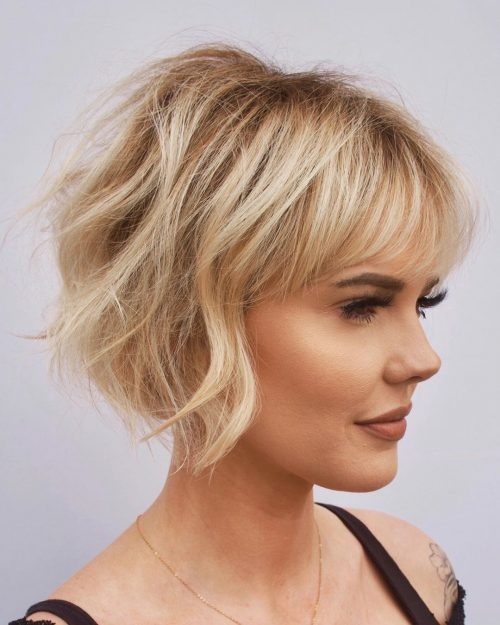 stacked bob with wispy bangs for ladies with thin hair