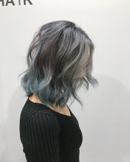 Picture of a steel grey hair shoulder length ombre