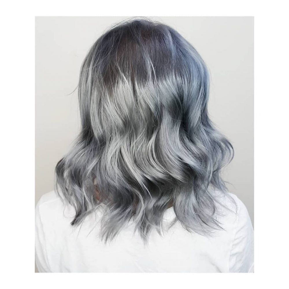The cutest steel grey hair color with waves