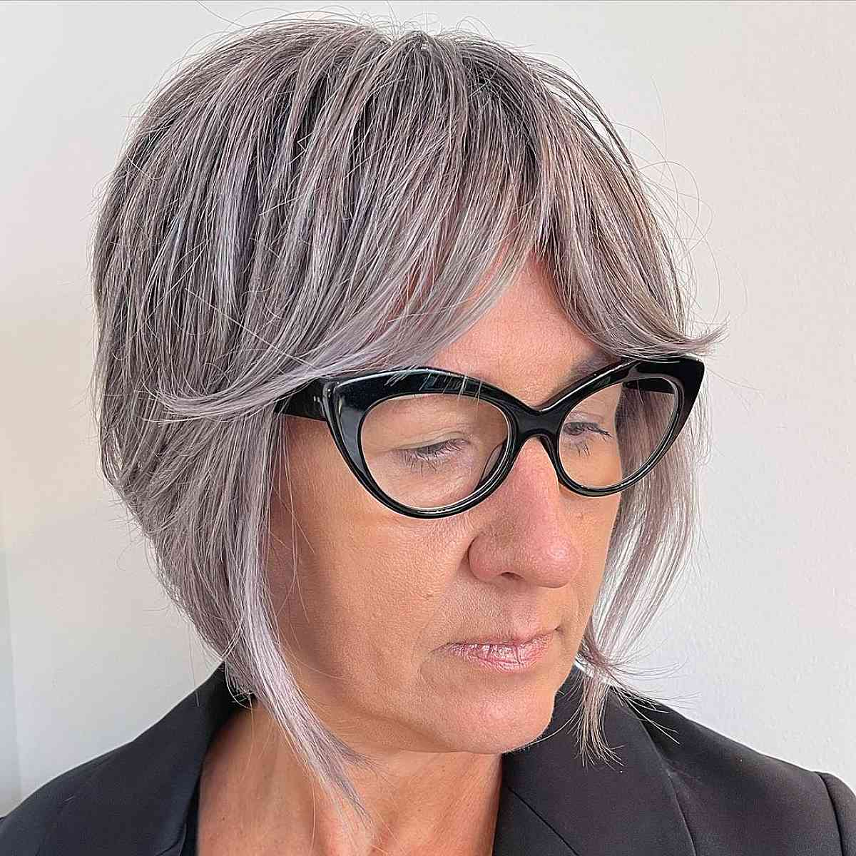 Straight bob for woman over 50 with glasses